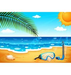 A beach with a shinning sun vector