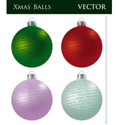 A set of colored christmas balls vector