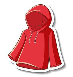 A sticker template with red hoodie isolated vector