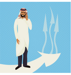 arab business man in traditional clothes talk on vector image