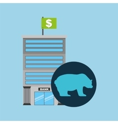 Bank building finance bear sell vector