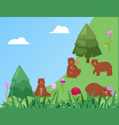 banner bears in forest green grass in nature vector image