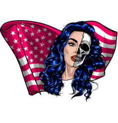 beautiful woman with american flag vector image