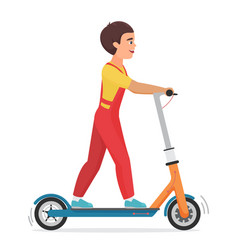 boy riding electric scooter flat vector image