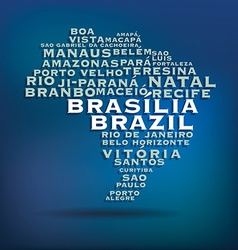 Brazil map made with name of cities vector image