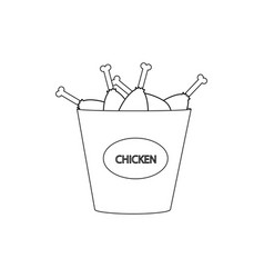 Bucket chicken legs vector