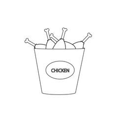 Bucket of chicken legs vector