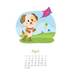 Calendar 2018 months april with dog vector