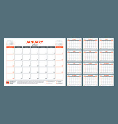 Calendar planner for 2020 year stationery design vector
