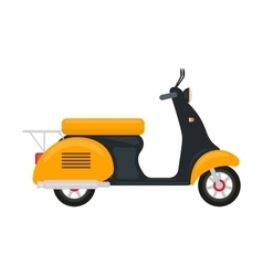 Cartoon yellow scooter with an engine vector