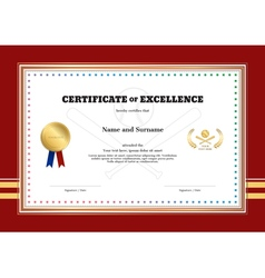Certificate of excellence template in sport theme vector