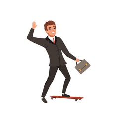 cheerful business man riding on skateboard and vector image