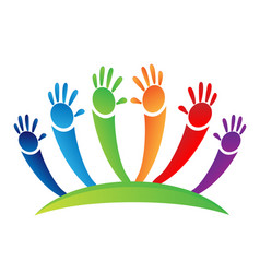 children unity hands icon vector image