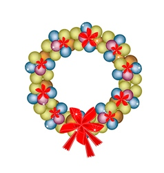 Christmas Wreath of Baubles and Red Bows vector image