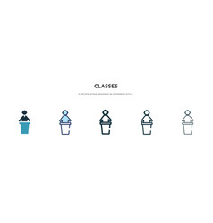 Classes icon in different style two colored and vector