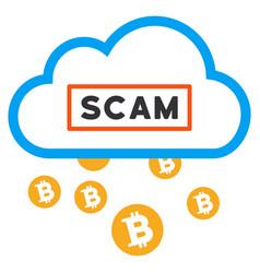Cloud bitcoin scam flat icon vector