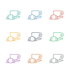 Coffee and croissant icon white background vector