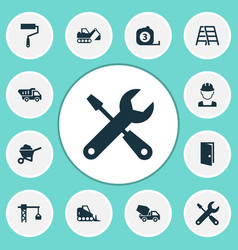 construction icons set collection of paint roller vector image