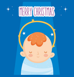 cute bajesus manger nativity merry christmas vector image