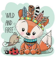 Cute tribal fox and bird with feathers vector