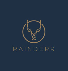 Deer logo line style simple minimalist animal icon vector