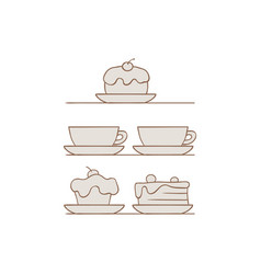 desserts and drinks set with vector image