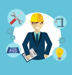 Engineer construction industrial factory vector