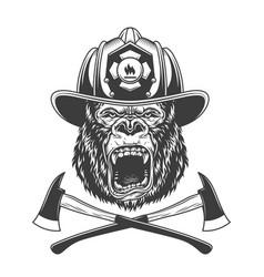 Ferocious gorilla head in firefighter helmet vector