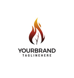 Fire leaf flame logo design vector
