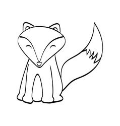 Fox cartoon icon cute animal design vector