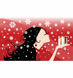 Girl with a Christmas present vector