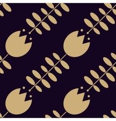 Golden tulip pattern on dark background vector
