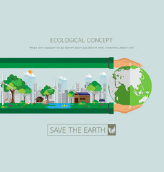 Green city with eco life conservation vector