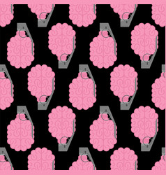 Grenade brain pattern seamless brains military vector
