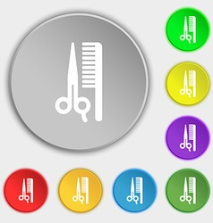 Hair icon sign Symbol on five flat buttons vector