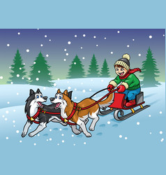 Happy boy riding sleigh with his huskies dog vector