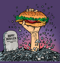 happy burger fast food zombie in the grave vector image