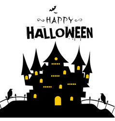 Happy halloween castle in a grave background vector