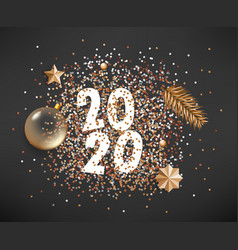 Happy new 2020 year different golden elements on vector