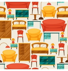 Interior seamless pattern with furniture in retro vector image