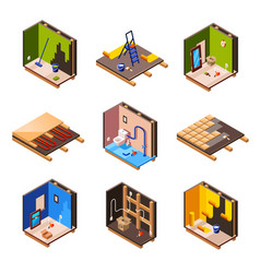 isometric home renovation repair set vector image