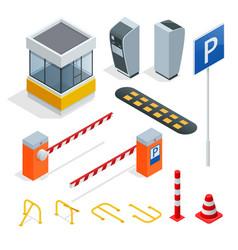 isometric parking elements set icons vector image