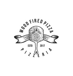 italian pizza wood fired logo designs inspiration vector image