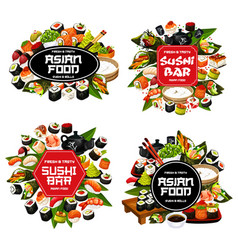 Japanese cuisine isolated sushi and rolls vector