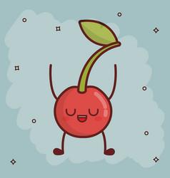 kawaii fruit icon vector image
