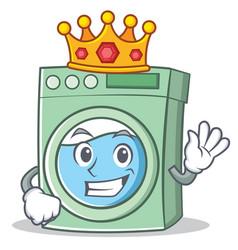 King washing machine character cartoon vector