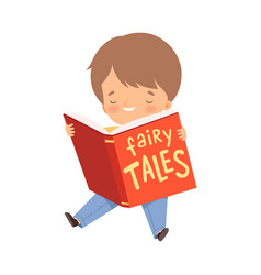 Little boy holding opened book reading fairy tale vector