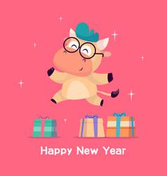 Little bull jumps near gift box year vector