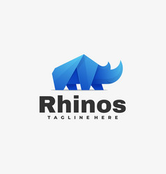 Logo rhinos gradient colorful style vector