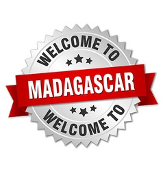Madagascar 3d silver badge with red ribbon vector